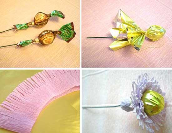 Конфетные цветки пошагово