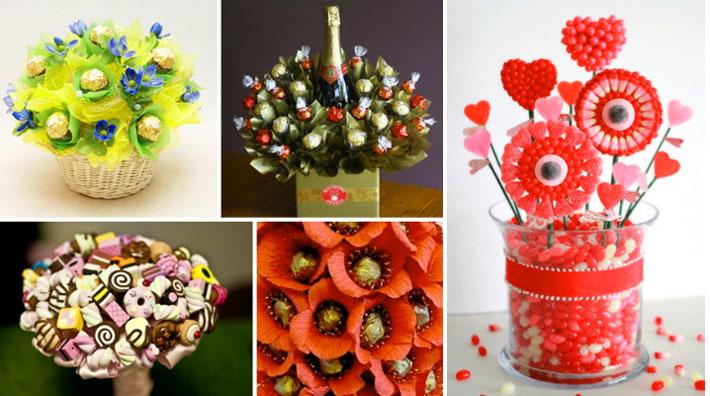 Варианты цветов из конфет