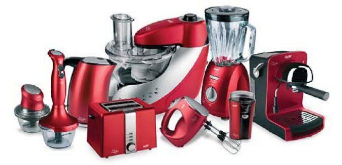 Большой набор быттехники для кухни в красном цвете все