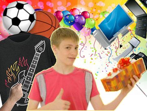 Мальчик с подарком, футболка с гитарой, спортивные мячи и гаджеты
