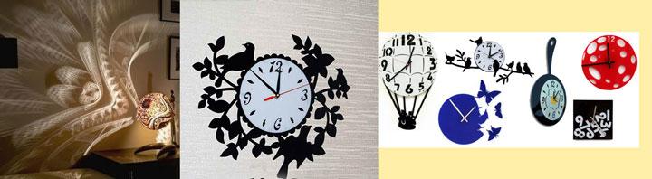 Оригинальные часы и светильник