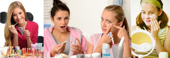 Девочки с косметикой и средствами для кожи