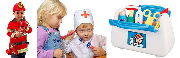 Мальчик в костюме - доктор и пожарник