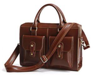 Коричневая кожаная сумка на ремне и две ручки с двумя карманами на защелках