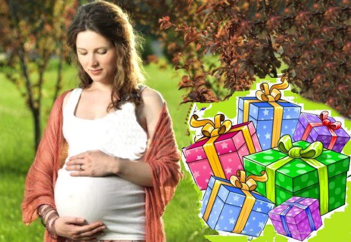 Коллаж беременная и подарки