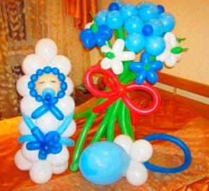 Букет из шаров на рождение малыша