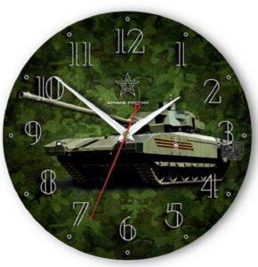 настенные часы с фоном танка