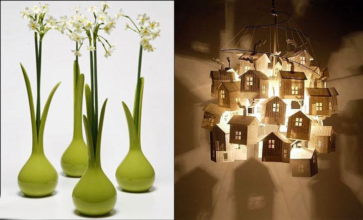 Креативные светильник и вазы