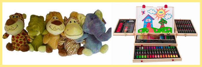 Мягкие игрушки и набор для рисования