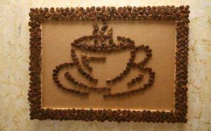 Красивая и необычная картина из кофейных зерен
