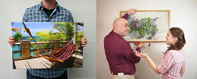 Мужчина с картиной, мужчина вешает картину