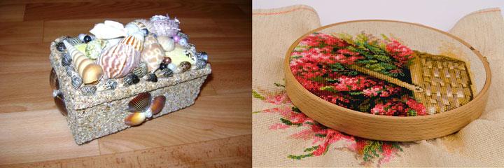 Вышивка картины и декорирование шкатулки