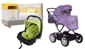 коллаж фиолетовая коляска, оранжевая кроватка, зеленое автокресло