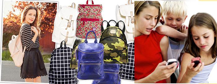 Дети с телефонами, и модные рюкзакми для подростков