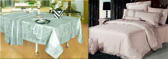 Постельное белье, скатерти и салфетки на столе