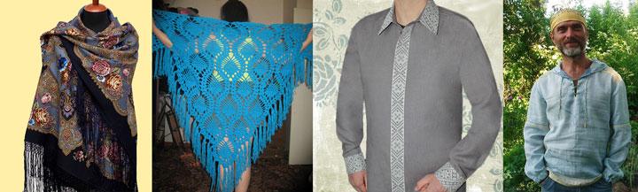 Мужские рубахи и женские платки
