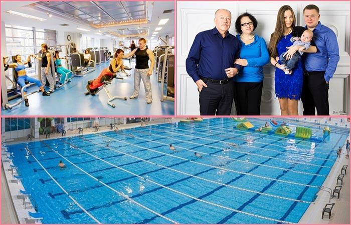 Фитнес-зал, семейное фото, басейн