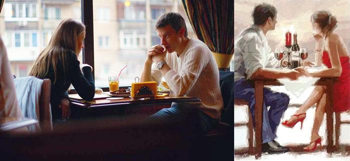 Влюбленные в кафе