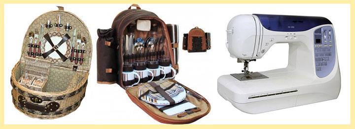 Наборы для пикника и швейная машинка