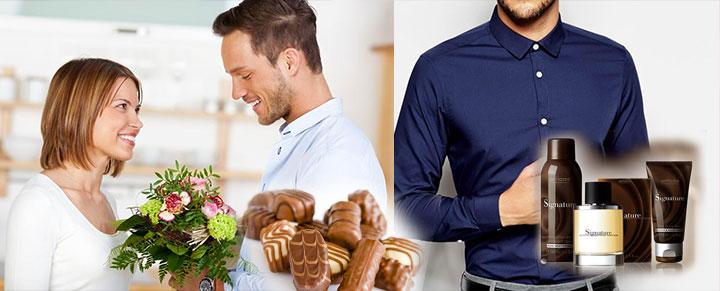 Мужчина дарит цвета и конфеты, мужская рубашка и парфюм