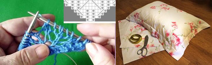 Вязание шали и шитье подушки