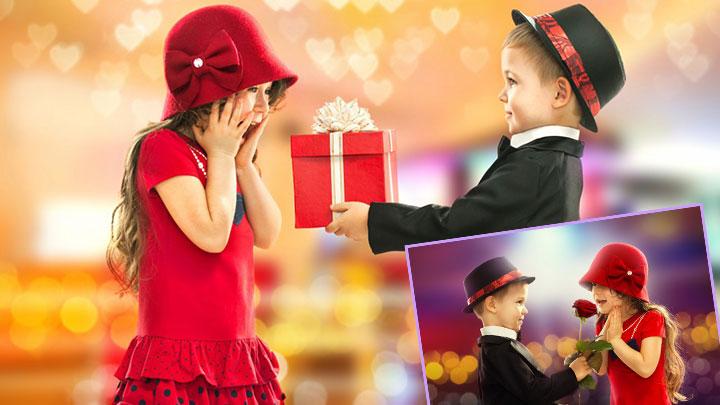 Мальчик дарит девочке подарок и розу