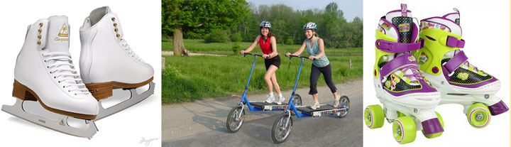 Девочки на беговых велосипедах, коньки и ролики