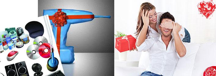 Девушка с подарком парню, диски и компьютерные детали