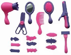 Розово-черный набор детских инструментов парикмахера