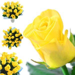 Варианты букетов из желтых роз