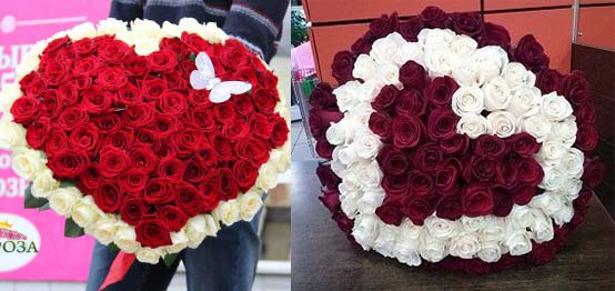 Розы 101 в форме сердца