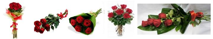 Пять роз в букетах