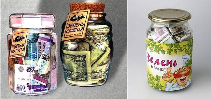 Деньги в банках зелень и цветная капуста