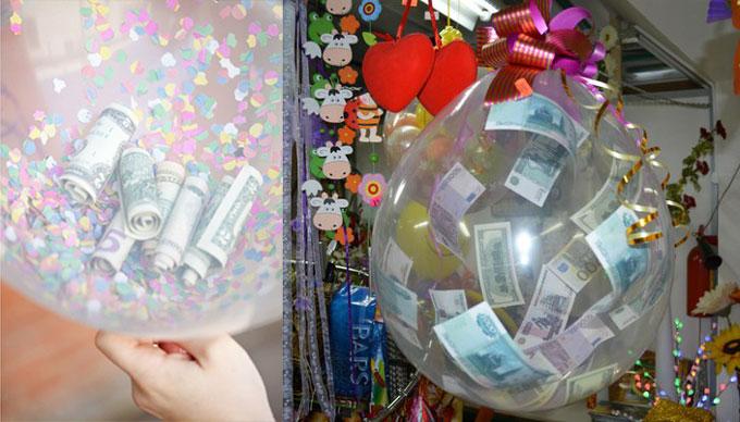 Деньги в воздушных шариках
