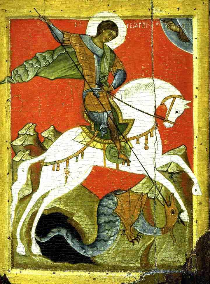 Старая икона с образом Георгия Победоносца