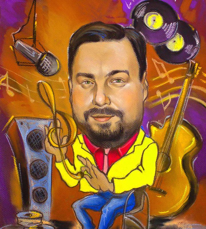 Рисунок музыканта в стиле шарж