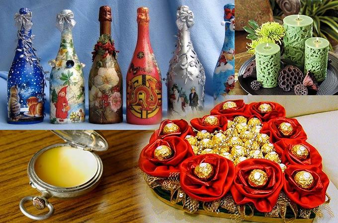 Красивые бутылки вина, букет цветов из конфет, сухие духи, оригинальные свечи