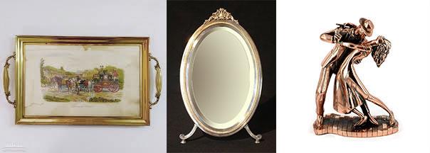 Оловянный разнос, зеркало и статуэтка пары