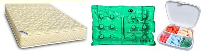 Солевая грелка, ортопедический матрас и таблетница