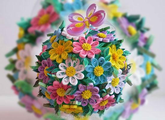 Букет из бумажных цветов аригами