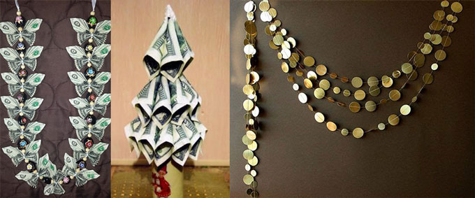 Гирлянды и елка из денег