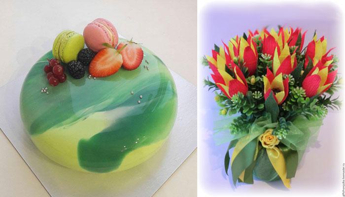 Цветочный горшочек из сладостей
