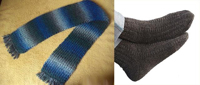 Носки и шарф вязанные