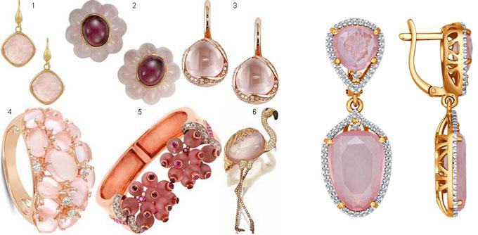 Ювелирные украшения с розовым кварцем