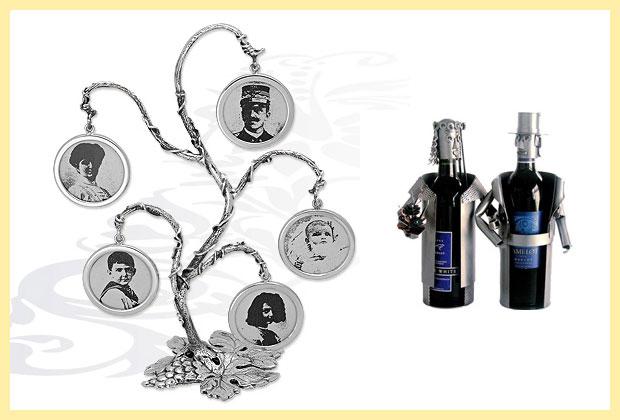 Серебрянное дерево-фоторамка и бутылочки