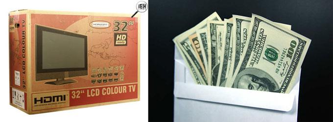 Коробка с телевизором и деньги в конверте