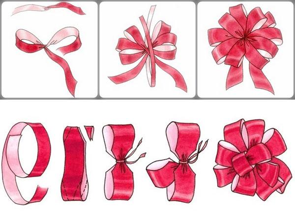 Этапы создания бантиков на подарок