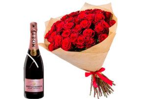 Вино мужу, жене - цветы