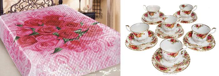 Сервиз и постельное белье с розами