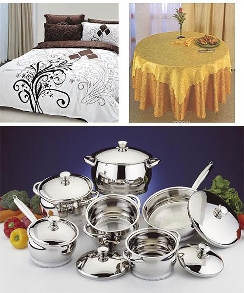 Постельное белье, оригинальная скатерть и набор посуды
